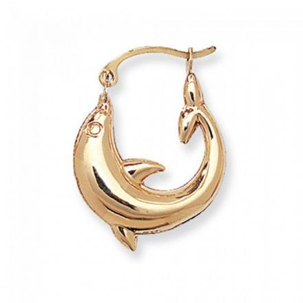 Just Gold Earrings -9Ct Gold Creoles Dolphin Small, ER488